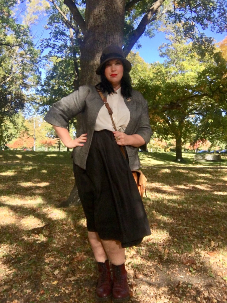 In my When Harry Met Sally/ Annie Hall/ Miss Marple character outfit